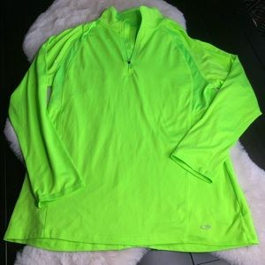 Neon green large workout zip long sleeve Champion